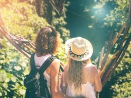 Two ladies enjoy a scenic art installation